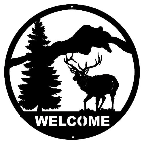 Welcome Deer Laser Cut Out Wall Décor Silhouette Metal Sign 16x16