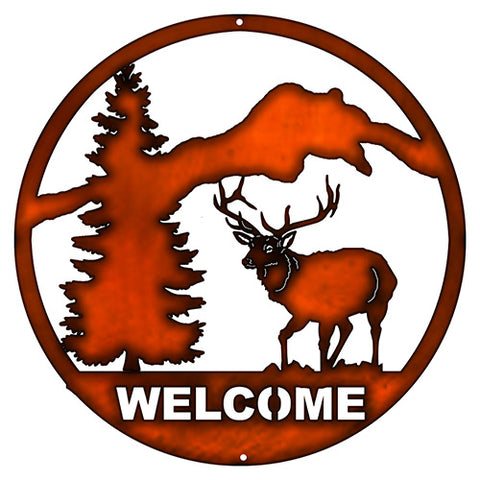 Welcome Deer Laser Cut Out Faux Copper Finish Metal Sign 16x16
