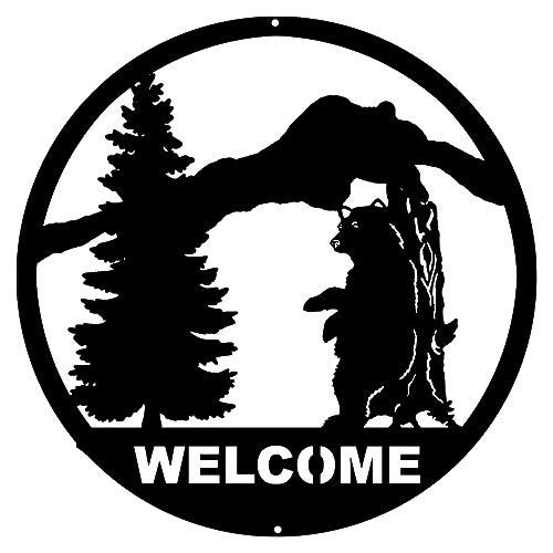 Welcome Bear Laser Cut Out Silhouette Wall Decor 16x16