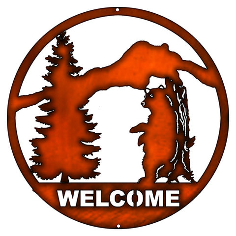 Welcome Bear Laser Cut Out faux Copper Finish Wall Decor 16x16