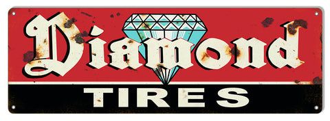 Diamond Tires Vintage Large Metal Sign 8x24
