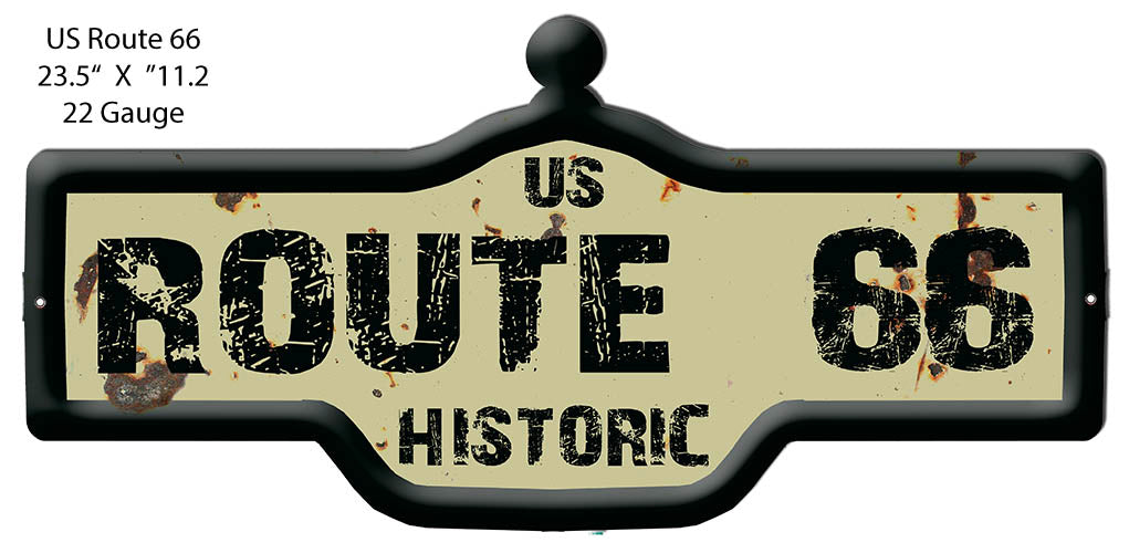 US Historic Route 66 Vintage Laser Cut Out Metal Sign 23.5x11.2