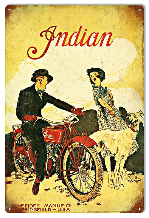 Indian Motorcycle With Couple Vintage Metal Sign 12x18