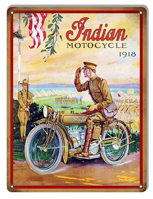 Indian Motorcycle With Soldier In 1918 Vintage Metal Sign 9x12