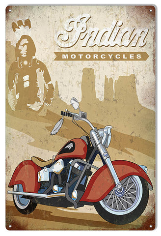 Indian Motorcycle With Indian Background Metal Sign 12x18