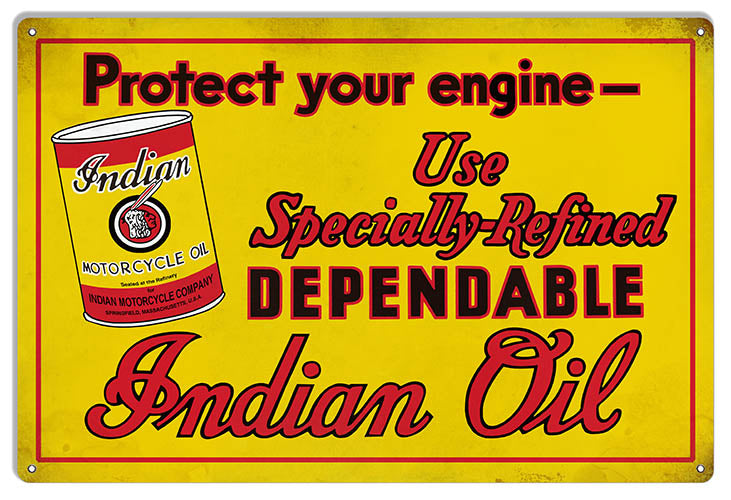 Indian Oil Specially Refined Vintage Metal Sign 12x18