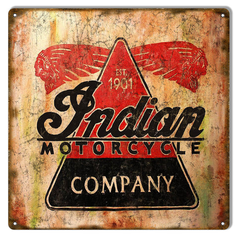 Indian Motorcycle Company Est 1901 Vintage Metal Sign 12x12