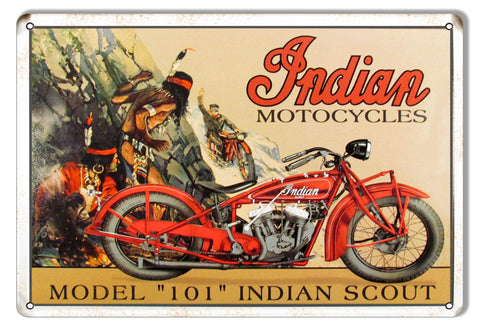 Indian Motorcycle Model 101 Indian Scout Metal Sign 9x12