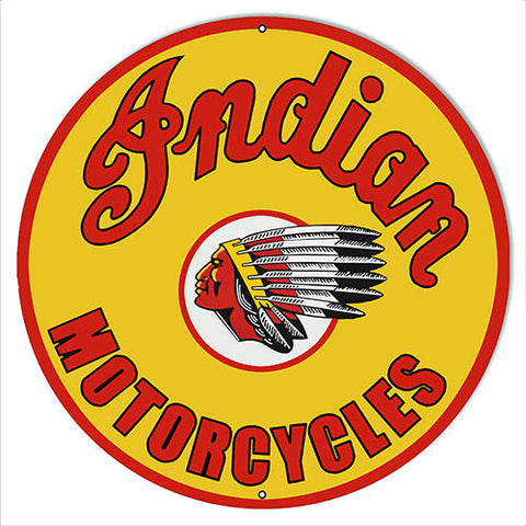 "Indian Motorcycle Metal Sign 18"" Round"