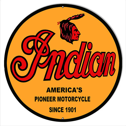 "Indian Motorcycle 1901 Series Metal Sign 14"" Round"