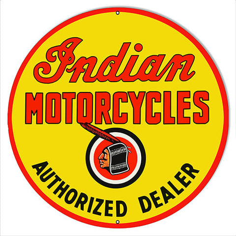 "Indian Motorcycle Authorized Dealer Metal Sign 24"" Round"