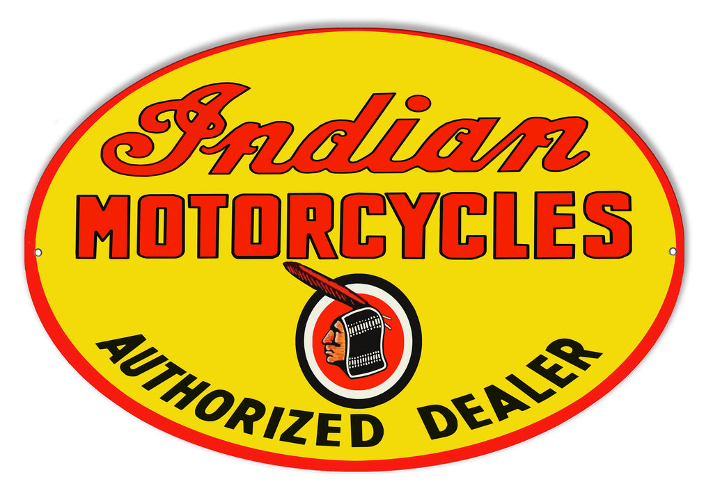 Indian Motorcycle Authorized Dealer Metal Sign 23.5x15