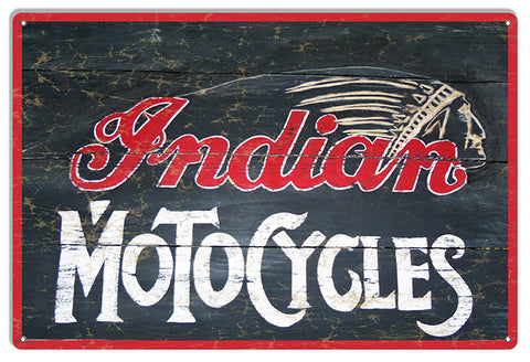 Indian Motocycles Vintage Metal Sign 12x18