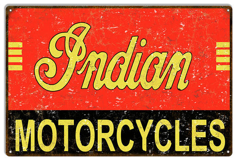 Indian Motorcycles Vintage Metal Sign 12x18