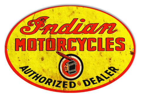 Indian Motorcycle Authorized Dealer Vintage Metal Sign 23.5x15