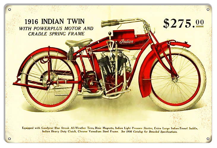 Indian Motorcycle 1916 Indain Twin Metal Sign 12x18