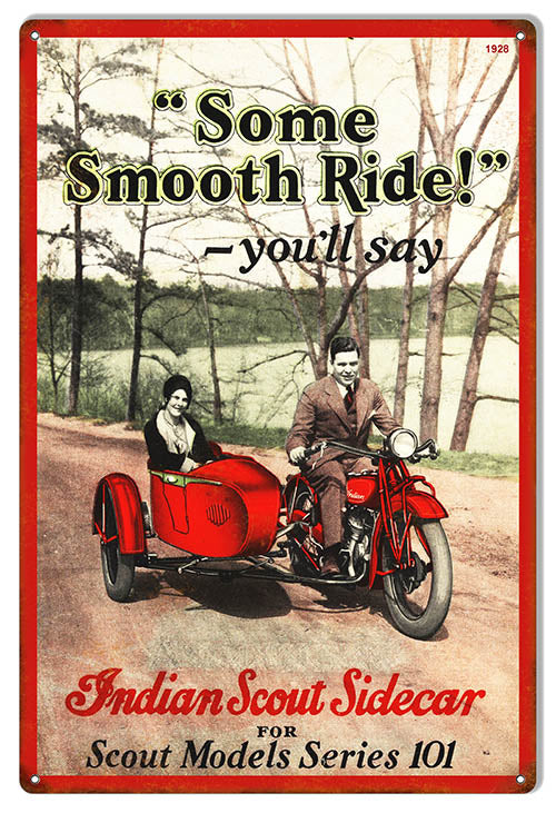 Indian Motorcycle Indian Scout Side Car Metal Sign 12x18