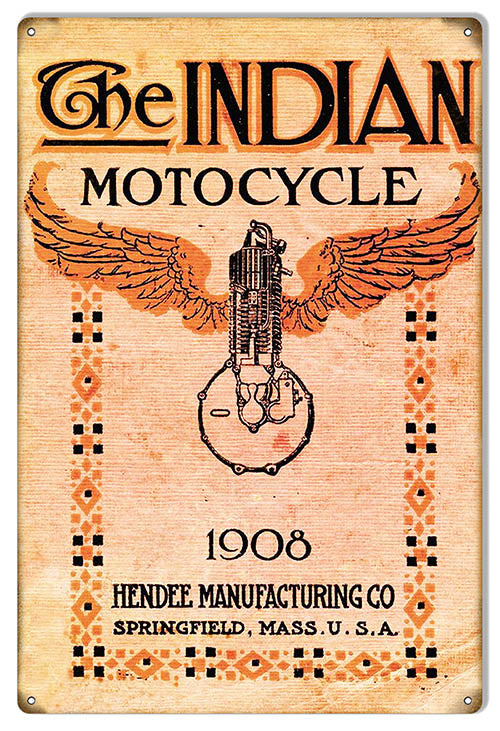 Indian Motorcycle 1908 Manufacturing Co Metal Sign 12x18