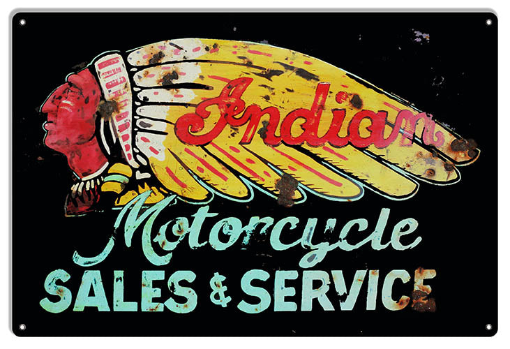 Indian Motorcycle Sales and Service Vintage Metal Sign 12x18