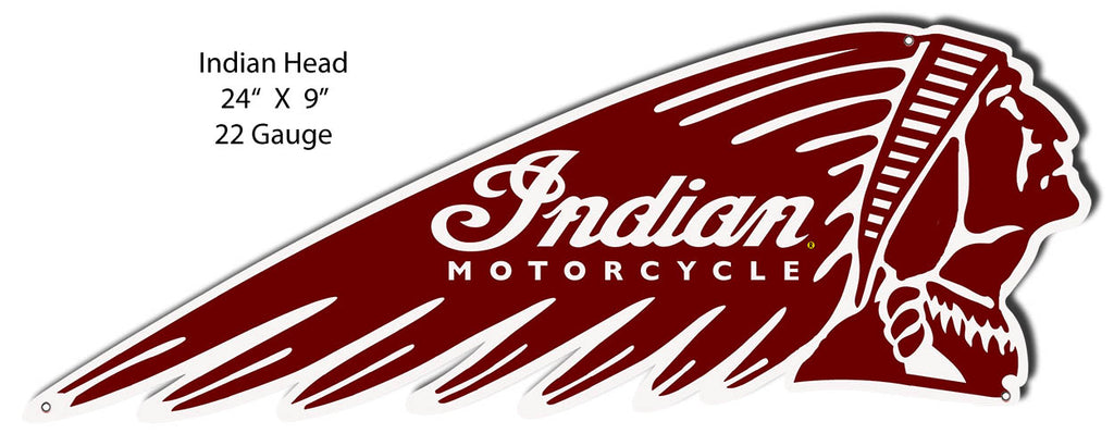 Indian Motorcycle Indian Head Laser Cut Out Metal Sign 24x9