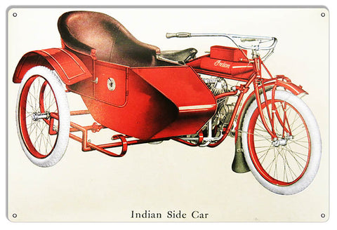 Indian Motorcycle Side Car Metal Sign 12x18