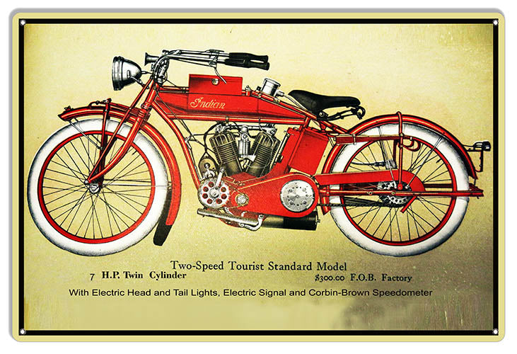 Indian Motorcycle Two Speed Tourist Standard Metal Sign 12x18