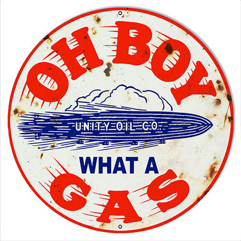 Unity Oil Reproduction Gasoline Garage Shop Metal Sign 14x14 Round