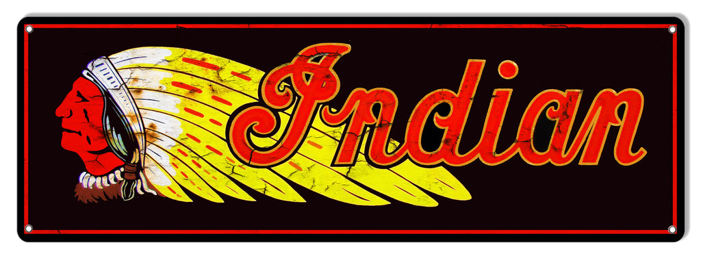 Indian Motorcycle Reproduction Garage Art Metal Sign 6x18