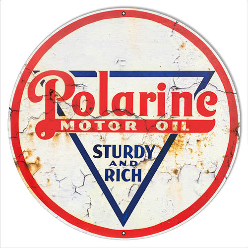 Polarine Motor Oil Reproduction Vintage Looking Metal Sign 30x30 Round