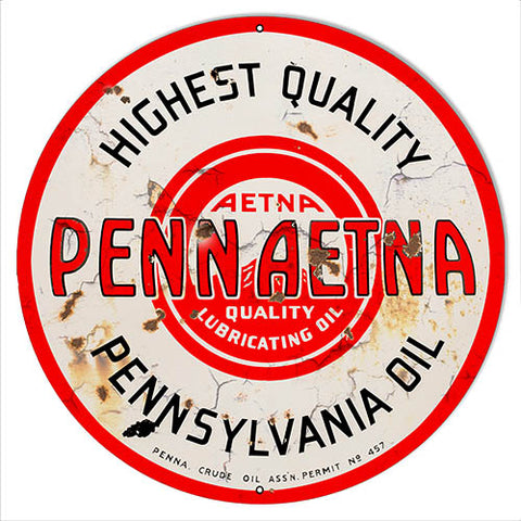 Penn Aetna Motor Oil Reproduction Vintage Metal Sign 14x14 Round