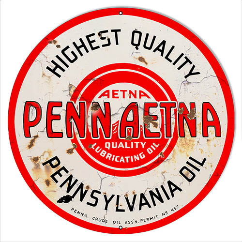 Penn Aetna Motor Oil Reproduction Vintage Metal Sign 24x24 Round