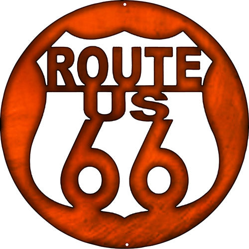 Route 66 US Laser Cut Out Faux Copper Finish Metal Sign 16x16