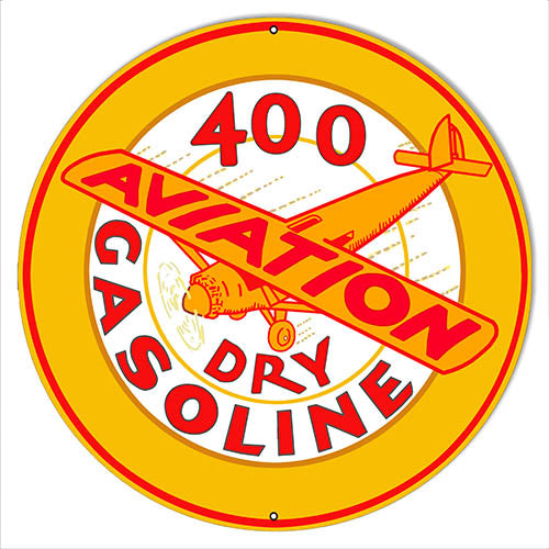 Dry Gasoline Reproduction Aviation Metal Sign 24x24 Round