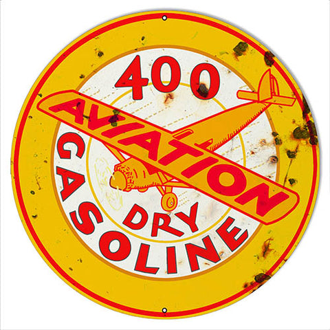 Dry Gasoline Reproduction Vintage Aviation Metal Sign 18x18 Round