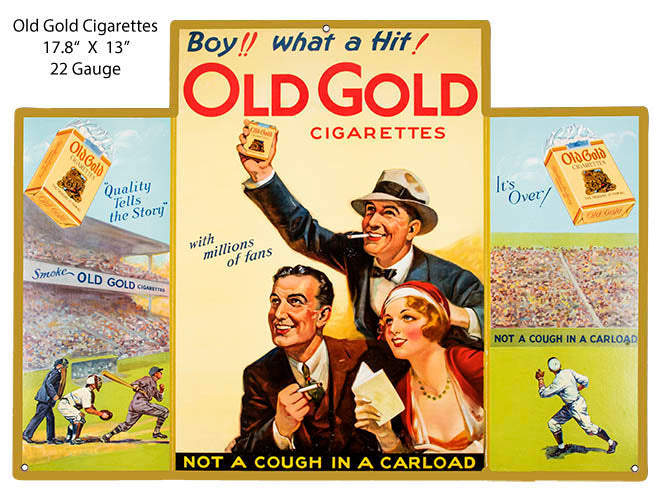 Old Gold Cigarette Reproduction Cut Out Cigar Metal Sign 13x17.8