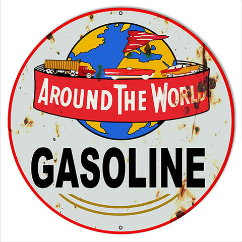 World Gasoline Reproduction Vintage Metal Sign 18x18 Round