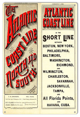 Atlantic Coast Line Reproduction Large Railroad Metal Sign 12x18