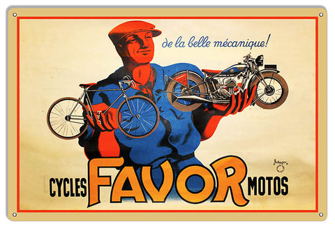 Cycles FAVOR Motos Reproduction Large Bicycle Metal Sign 16x24