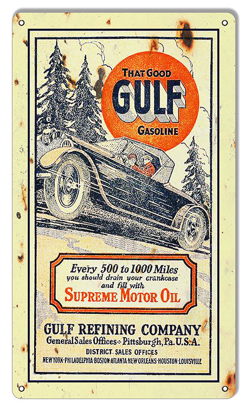 Gulf Gasoline Reproduction Motor Oil Metal Sign 8x14