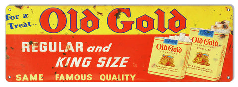 Old Gold King Size Cigarette Reproduction Large Cigar Metal Sign 8x24