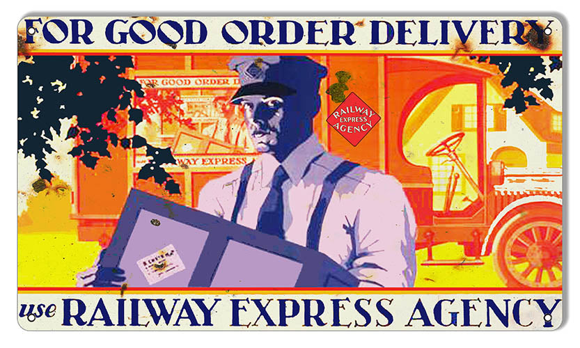 Railway Express Agency Reproduction Railroad Metal Sign 8x14