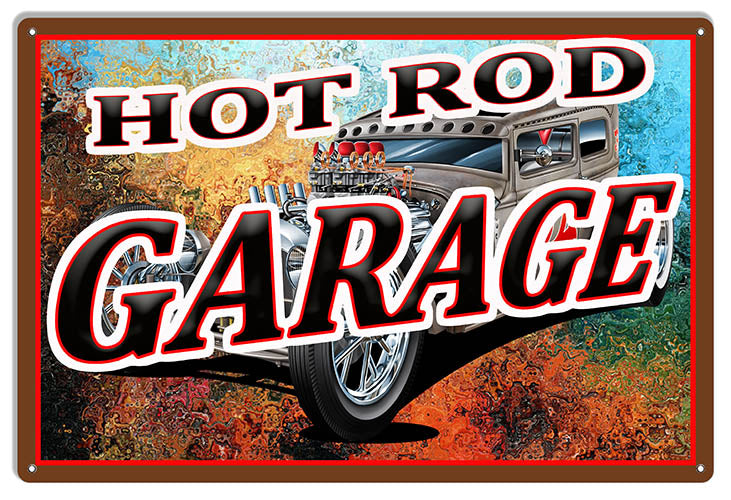 Hot Rod Garage Man Cave Garage Art Large Metal Sign 16x24