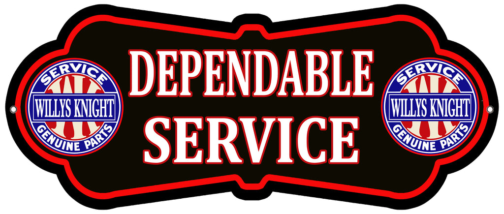 Willys Knight Service Cut Out Garage Shop Metal Sign 9.8x23.5