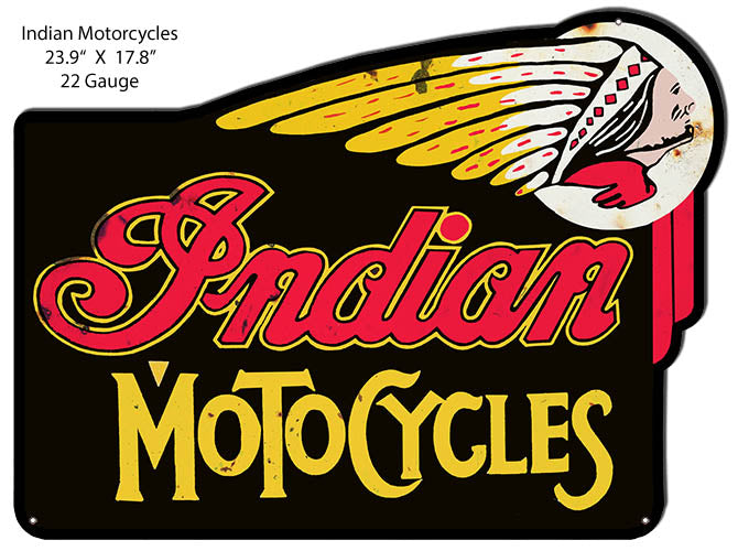 Indian Moto Cycles Cut Out Reproduction Garage Metal Sign 17.8x23.9