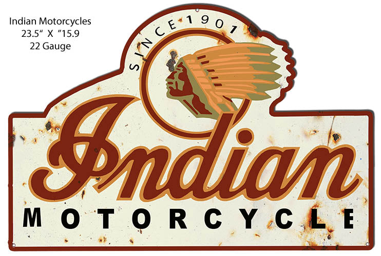 Indian Motorcycle Reproduction Cut Out Garage Metal Sign 15.9x23.5