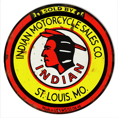 Indian Motorcycle Sales Reproduction Garage Shop Metal Sign 24x24 Round