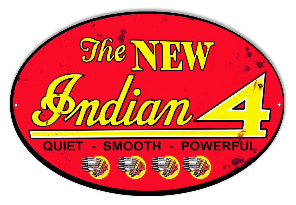 New Indian 4 Reproduction Motorcycle Metal Sign 9x14 Oval