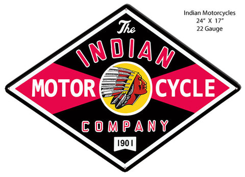Indian Motorcycle Co. Reproduction Cut Out Garage Metal Sign 17x24