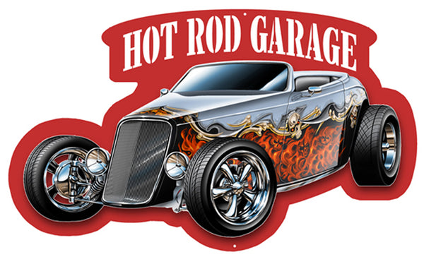 Hot Rod Cut Out With 3D Effect Wall Art Metal Sign 12.5x21
