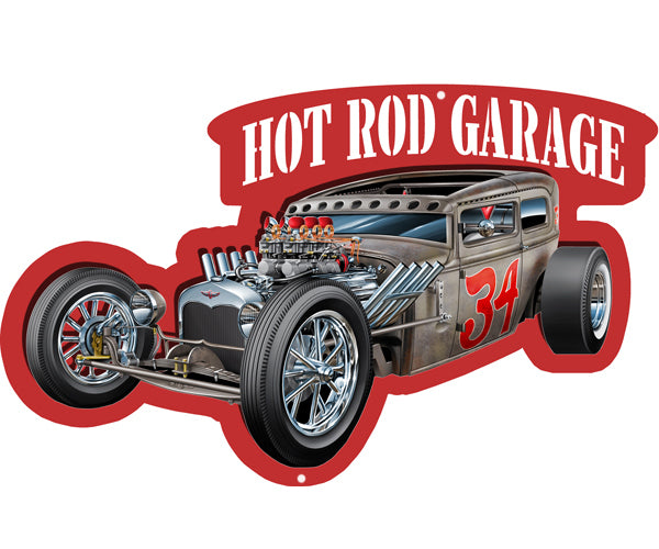 Hot Rod Garage Cut Out With 3D Effect Wall Art Metal Sign 14x20